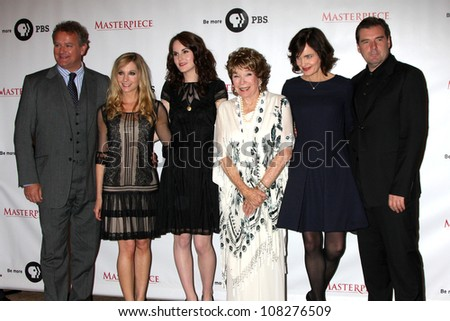"LOS ANGELES - JUL 21:  Hugh Bonneville,  Froggatt, Michelle Dockery, Shirley MacLaine, McGovern,  Coyle at a photocall for ""Downton Abby"" at Beverly Hilton Hotel on July 21, 2012 in Beverly Hills, CA"