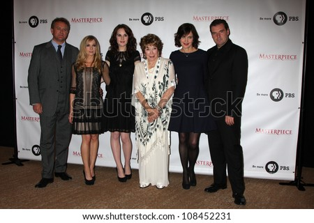 "LOS ANGELES - JUL 21: Hugh Bonneville, Joanne Froggatt, Michelle Dockery, Shirley MacLaine, Elizabeth McGovern, Brendan Coyle at a photocall for ""Downton Abby"" on July 21, 2012 in Beverly Hills, CA"