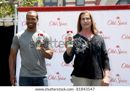 LOS ANGELES - JUL 28:  Isaiah Mustafa, Fabio at a public appearance to promote the Epic Old Spice Challenge  at The Grove on July 28, 2011 in Los Angeles, CA
