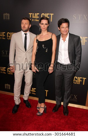 "LOS ANGELES - JUL 30:  Joel Edgerton, Rebecca Hall, Jason Bateman at the ""The Gift"" World Premiere at the Regal Cinemas on July 30, 2015 in Los Angeles, CA"