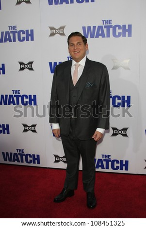 """LOS ANGELES - JUL 23: Jonah Hill at the premiere of """"The Watch"""" held at Grauman's Theater on July 23, 2012 in Los Angeles, California - stock photo"""