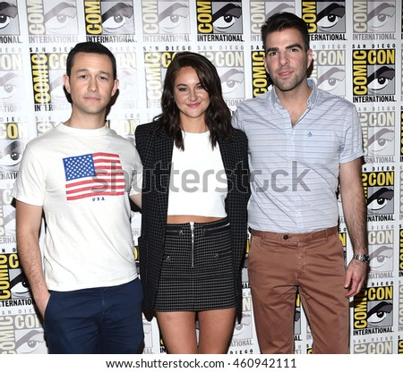 "LOS ANGELES - JUL 21:  Joseph Gordon-Levitt, Shailene Woodley & Zachary Quinto arrives to the Comic Con 2016 - ""Snowden"" PhotoCall on July 21, 2016 in San Diego, CA"