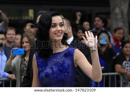 LOS ANGELES - JUL 28: Katy Perry at the 'Smurfs 2' - Los Angeles Premiere at the Regency Village Theater on July 28, 2013 in Los Angeles, CA. - stock photo