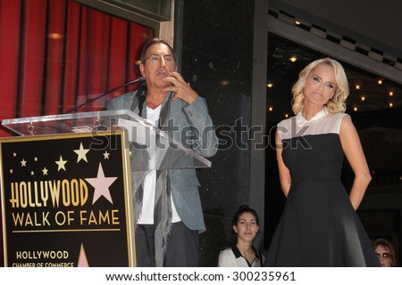 LOS ANGELES - JUL 24:  Kenny Ortega, Kristin Chenoweth at the Kristin Chenoweth Hollywood Walk of Fame Star Ceremony at the Hollywood Blvd on July 24, 2015 in Los Angeles, CA - stock photo