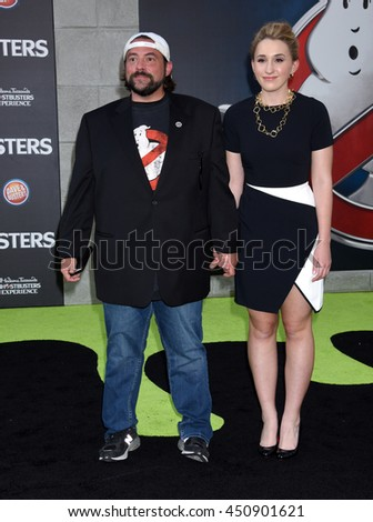 "LOS ANGELES - JUL 9:  Kevin Smith and Harley Quinn Smith arrives to the ""Ghostbusters"" World Premiere  on July 9, 2016 in Hollywood, CA                 - stock photo"