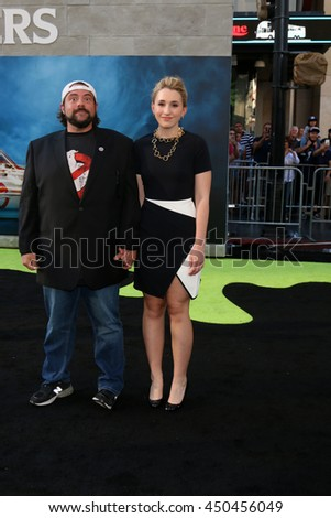 LOS ANGELES - JUL 9:  Kevin Smith, Harley Quinn Smith at the Ghostbusters Premiere at the TCL Chinese Theater IMAX on July 9, 2016 in Los Angeles, CA - stock photo