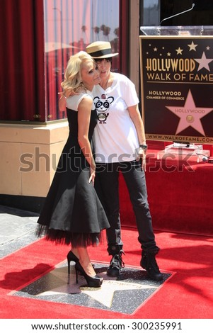 LOS ANGELES - JUL 24:  Kristin Chenoweth, Diane Warren at the Kristin Chenoweth Hollywood Walk of Fame Star Ceremony at the Hollywood Blvd on July 24, 2015 in Los Angeles, CA - stock photo