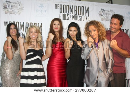 "LOS ANGELES - JUL 23:  Lauriet, Replogle, C Von Petzholdt, Santos, Walldorf, Hamrick at the ""The Boom Boom Girls of Wrestling"" Premiere at the Downtown Independent on July 23, 2015 in Los Angeles, CA - stock photo"