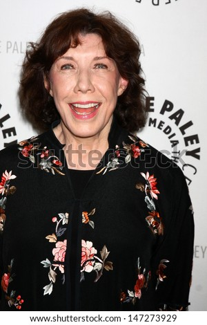 """LOS ANGELES - JUL 16:  Lily Tomlin arrives at  """"An Evening With Web Therapy: The Craze Continues..."""" at the Paley Center for Media on July 16, 2013 in Beverly Hills, CA - stock photo"""