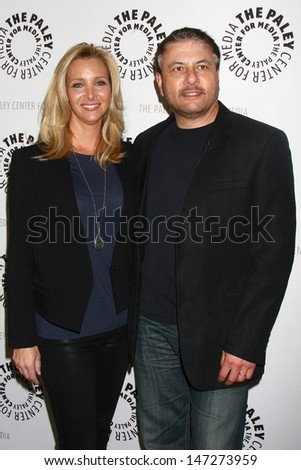 """LOS ANGELES - JUL 16:  Lisa Kudrow, Gary Levine arrives at  """"An Evening With Web Therapy: The Craze Continues..."""" at the Paley Center for Media on July 16, 2013 in Beverly Hills, CA - stock photo"""