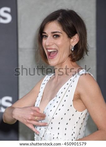 "LOS ANGELES - JUL 9:  Lizzy Caplan arrives to the ""Ghostbusters"" World Premiere  on July 9, 2016 in Hollywood, CA                 - stock photo"