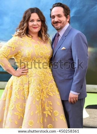 "LOS ANGELES - JUL 9:  Melissa McCarthy & Ben Falcone arrives to the ""Ghostbusters"" Los Angeles Premiere on July 09, 2016 in Hollywood, CA.                - stock photo"