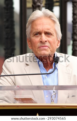 LOS ANGELES - JUL 1:  Michael Douglas at the Paul Rudd Hollywood Walk of Fame Star Ceremony at the El Capitan Theater Sidewalk on July 1, 2015 in Los Angeles, CA - stock photo