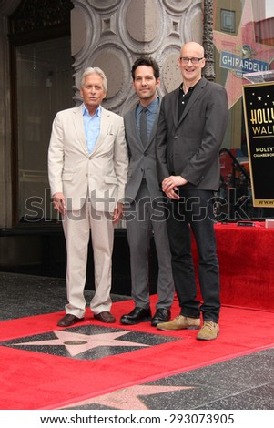 LOS ANGELES - JUL 1:  Michael Douglas, Paul Rudd, Peyton Reed at the Paul Rudd Hollywood Walk of Fame Star Ceremony at the El Capitan Theater Sidewalk on July 1, 2015 in Los Angeles, CA - stock photo