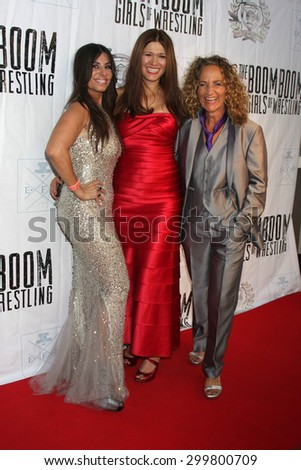 "LOS ANGELES - JUL 23: Patricia Lauriet, Carolin Von Petzholdt, Ursel Walldorf at the ""The Boom Boom Girls of Wrestling"" Premiere at the Downtown Independent Theater on July 23, 2015 in Los Angeles, CA - stock photo"