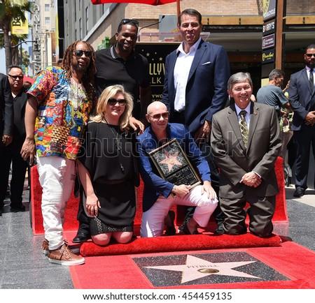 LOS ANGELES - JUL 15:  Pitbull aka Armando Christian Perez, Lil Jon, Luther Campbell & Tony Robbins arrives to the Walk of Fame honors Pitbull on July 15, 2016 in Hollywood, CA                 - stock photo