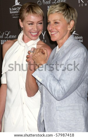 LOS ANGELES - JUL 22:  Portia DeRossi & Ellen DeGeneres arrives at the Neil Lane Bridal Collection Debut at Drai's at The W Hollywood Rooftop on July22, 2010 in Los Angeles, CA .... - stock photo