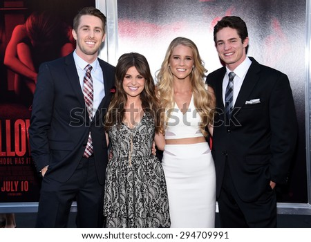 """LOS ANGELES - JUL 07:  Ryan Shoos, Pfeifer Brown, Cassidy Gifford & Reese Mishler arrives to the """"The Gallows"""" Los Angeles Premiere  on July 07, 2015 in Hollywood, CA                 - stock photo"""