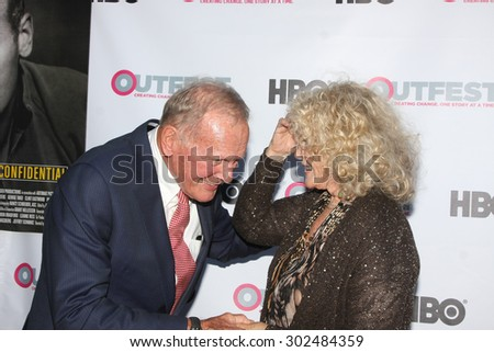 "LOS ANGELES - JUL 11:  Tab Hunter, Connie Stevens at the ""Tab Hunter Confidential"" at Outfest at the Directors Guild of America on July 11, 2015 in Los Angeles, CA - stock photo"