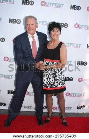 "LOS ANGELES - JUL 11:  Tab Hunter, Joyce DeWitt at the ""Tab Hunter Confidential"" at Outfest at the Directors Guild of America on July 11, 2015 in Los Angeles, CA - stock photo"