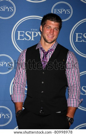 LOS ANGELES - JUL 13:  Tim Tebow in the Press Room of the 2011 ESPY Awards at Nokia Theater at LA Live on July 13, 2011 in Los Angeles, CA - stock photo