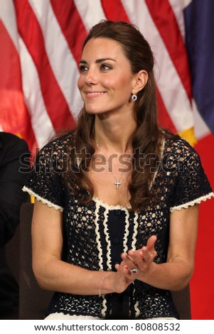 "LOS ANGELES - JULY 10: Catherine, Duchess of Cambridge The Duke And Duchess Of Cambridge attend The Mission Serve ""Hiring Our Heroes"" Job Fair at Sony Pictures on July 10, 2011 in Culver City, CA"