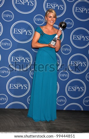 LOS ANGELES - JULY 14:  Lindsey Vonn  in the Press Room of the 2010 ESPY Awards at Nokia Theater - LA Live on July 14, 2010 in Los Angeles, CA - stock photo