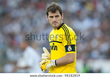 LOS ANGELES - JULY 16: Real Madrid C.F. G Iker Casillas #1 during the World Football Challenge game between Real Madrid & the Los Angeles Galaxy on July 16 2011 at the Los Angeles Memorial Coliseum in Los Angeles, CA. - stock photo