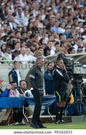 LOS ANGELES - JULY 16: Real Madrid C.F. manager Jose Mourinho during the World Football Challenge game between Real Madrid & the Los Angeles Galaxy on July 16 2011 at Los Angeles Memorial Coliseum in Los Angeles, CA.