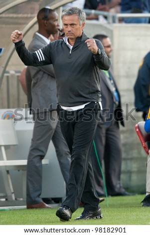 LOS ANGELES - JULY 16: Real Madrid C.F. manager Jose Mourinho during the World Football Challenge game between Real Madrid & the Los Angeles Galaxy on July 16 2011 at Los Angeles Memorial Coliseum in Los Angeles, CA. - stock photo