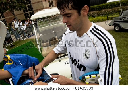 LOS ANGELES - JULY 12: Real Madrid midfielder Ricardo Kaka signs autographs during a preseason team practice at the UCLA Campus July 12, 2011 in Los Angeles, California.