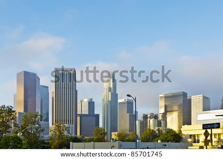 LOS ANGELES - JULY 20: The skyline of downtown Los Angeles on July 20, 2011. The downtown center of Los Angeles was developed largely between 1970 and 1992.