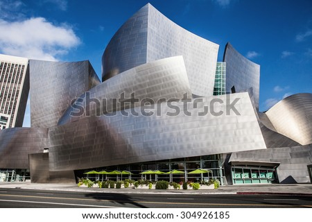 LOS ANGELES -  JULY 26: Walt Disney Concert Hall in downtown Los Angeles on July 26, 2015. The concert hall houses the Los Angeles Philharmonic Orchestra and is a design by architect Frank Gehry. - stock photo
