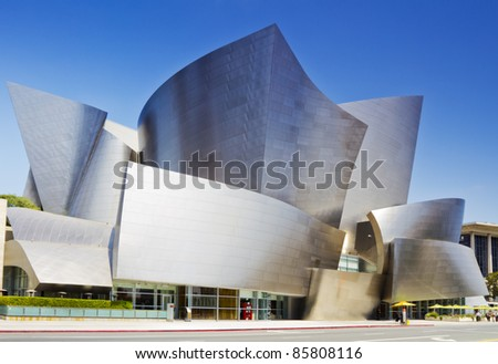 LOS ANGELES - JULY 27: Walt Disney Concert Hall in Los Angeles, CA on July 27, 2011. The hall was designed by Frank Gehry and is a major component in the Los Angeles Music Center complex. - stock photo