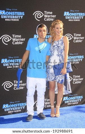 "LOS ANGELES - JUN 17:  Adam Irigoyen, Caroline Sunshine at the ""Monsters University"" Premiere at El Capitan Theater on June 17, 2013 in Los Angeles, CA"