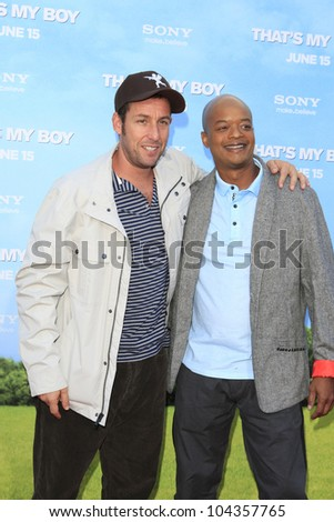 LOS  ANGELES- JUN 4: Adam Sandler, Todd Bridges at the premiere of Columbia Pictures' 'That's My Boy' at the Regency Village Theater on June 4, 2012 in Los Angeles, California - stock photo