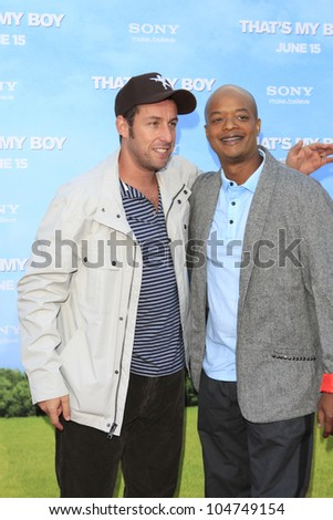 LOS  ANGELES- JUN 4: Adam Sandler, Todd Bridges at the premiere of Columbia Pictures' 'That's My Boy' at the Regency Village Theater on June 4, 2012 in Los Angeles, California