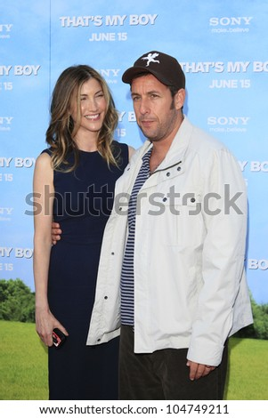 LOS  ANGELES- JUN 4: Adam Sandler, wife Jackie at the premiere of Columbia Pictures' 'That's My Boy' at the Regency Village Theater on June 4, 2012 in Los Angeles, California - stock photo