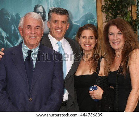 LOS ANGELES - JUN 27:  Alan Riche, Peter Riche, Wendy Jacobs-Riche, Wendy Riche at The Legend Of Tarzan Premiere at the Dolby Theater on June 27, 2016 in Los Angeles, CA - stock photo