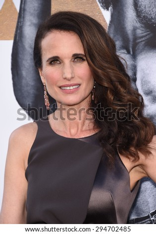"LOS ANGELES - JUN 25:  Andie MacDowell arrives to the ""Magic Mike XXL"" World Premiere  on June 25, 2015 in Hollywood, CA                 - stock photo"
