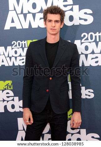 LOS ANGELES - JUN 05:  ANDREW GARFIELD arriving to MTV Movie Awards 2011  on June 05, 2011 in Hollywood, CA - stock photo