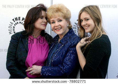 LOS ANGELES - JUN 7:  Carrie Fisher, Debbie Reynolds, & Billie Lourd arrive at the Debbie Reynolds Collection Auction & Auction Preview at Paley Center For Media on June 7, 2011 in Beverly Hills, CA - stock photo