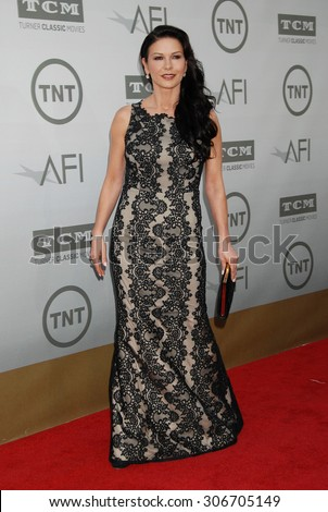 LOS ANGELES - JUN 5:  Catherine Zeta-Jones arrives at the AFI TRIBUTE TO JANE FONDA   on June 5, 2014 in Hollywood, CA                 - stock photo