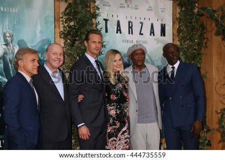 LOS ANGELES - JUN 27:  Christoph Waltz, D Yates, Alexander Skarsgard, Margot Robbie, Sam Jackson, Djimon Hounsou at The Legend Of Tarzan Prem at the Dolby Theater on June 27, 2016 in Los Angeles, CA - stock photo