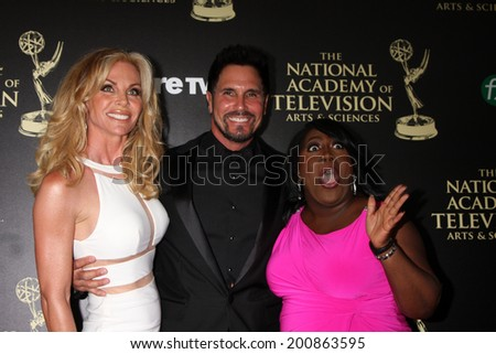 LOS ANGELES - JUN 22:  Cindy Ambuehl, Don Diamont, Sheryl Underwood at the 2014 Daytime Emmy Awards Arrivals at the Beverly Hilton Hotel on June 22, 2014 in Beverly Hills, CA - stock photo
