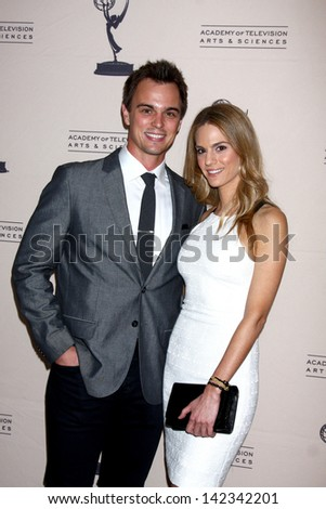 LOS ANGELES - JUN 13:  Darin Brooks, Kelly Kruger arrives at the Daytime Emmy Nominees Reception presented by ATAS at the Montage Beverly Hills on June 13, 2013 in Beverly Hills, CA - stock photo