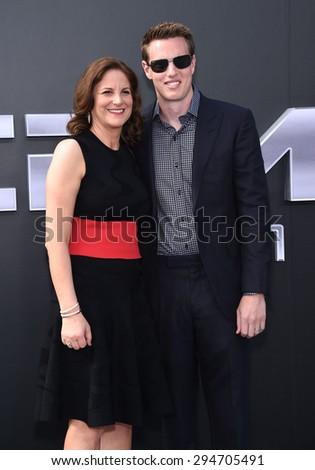 "LOS ANGELES - JUN 28:  David Ellison & Dana Goldberg arrives to the ""Terminator Genisys"" Los Angeles Premiere  on June 28, 2015 in Hollywood, CA                 - stock photo"