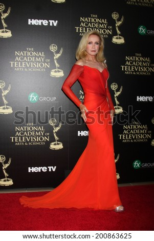 LOS ANGELES - JUN 22:  Donna Mills at the 2014 Daytime Emmy Awards Arrivals at the Beverly Hilton Hotel on June 22, 2014 in Beverly Hills, CA - stock photo