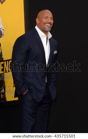 LOS ANGELES - JUN 10:  Dwayne Johnson at the Central Intelligence Los Angeles Premiere at the Village Theater on June 10, 2016 in Westwood, CA - stock photo