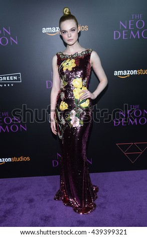 LOS ANGELES - JUN 14:  Elle Fanning arrives to the 'The Neon Demon' Hollywood Premiere  on June 14, 2016 in Hollywood, CA.                 - stock photo